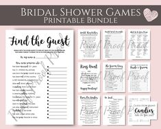Bridal Shower Games Bridal Shower Bundle Bridal Games Pack | Etsy Fun Bridal Shower Games, Simple Bridal Shower, Bridal Games, Printable Bridal Shower Games, Ten Games, Naughty Valentines, Kids Rings, Printing Services, Card Templates