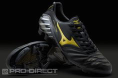 Mizuno Football Boots - Mizuno Wave Ignitus 2 MD - Soccer Cleats - Black-Gun Metal-Gold