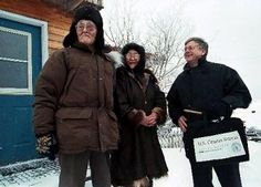 U.S. Census Bureau director Kenneth Prewitt participated in the enumeration of residents in remote areas of Alaska beginning January 20, 2000.  Enumerators collect data in Alaska before snow and ice melts making many remote villages difficult to reach. Learn more at http://www.census.gov/history/