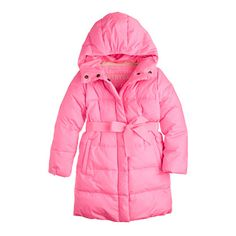 """Our too-cute puffer features a chill-proof elasticized hood to keep her well covered and cozy. Down-filled with a supersoft polarfleece lining, it also has a pretty grosgrain ribbon belt, slash pockets and cuffed sleeves to seal in warmth. """"This belongs to"""" interior label. <ul><li>Hits at midthigh.</li><li>Down-filled poly.</li><li>Hidden snap with zip closure.</li><li>Lined.</li><li>Machine wash.</li><li>Import.</li></ul>"""