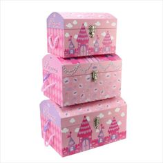 Merveilleux Tri Coastal Design Princess Castle Nested Domed Trunks [Set 3] WTC379 On  EBid