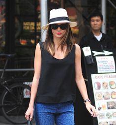 Miranda Kerr in a panama hat