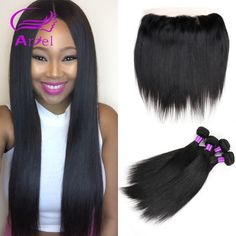 Straight Brazilian Virgin Hair with Closure Full Frontal Lace Closure 13x4 with Bundle 3Pcs Brazilian Straight Hair with Closure