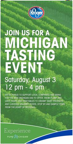 Join Kroger on Saturday, August 3 in Plymouth to sample items from 21 Michigan companies at their Michigan Tasting Event! Details: http://puremi.ch/163zfMB