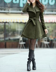 Army Green Long  Dress Spring Trench Coats Fashion Women Wool Windbreaker Coat Fitted Winter Cape Jacket-WH072 M,L,XL,XXL                                                                                                                                                                                 More