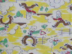 Fabulous Vintage Feedsack Childrens Novelty Cowboy Fabric Pillowcase Vintageblessings