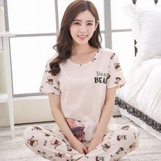 a697782168 Pajamas Sets Cotton Short-Sleeve Shirts And Pants Animal Print Sleepwear. Womens  Pyjama Sets