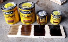 Ana White Homemaker - Minwax wood finishes from left to right: Special Walnut, Provincial, Dark Walnut, Jacobean oil-based stain Paint Furniture, Furniture Projects, Rustic Furniture, Furniture Making, Furniture Makeover, Home Projects, Furniture Refinishing, Furniture Stores, Ana White Furniture