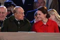 The Duchess of Cambridge was seated next to the Duke of Edinburgh with the pair seeming to...