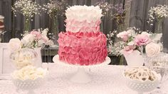 "Gorgeous ""rose petal"" cake, hobnail glass, crocheted tablecloth & baby's breath"