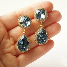 Denim Blue Swarovski Crystal Chandelier Earrings by bySarahJohanna