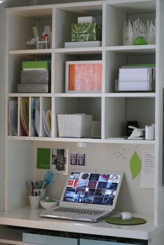 If you have a space against the wall this is a great way to handle storage. If it is custom built it could have cubbies for everything you need.