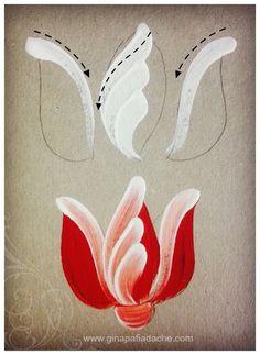 Atelier Gina Pafiadache: Treinando as pinceladas da Tulipa em Bauernmalerei: