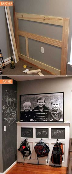 Add a backpacks wall for your kids and they would love to drawing something on those chalkboards.