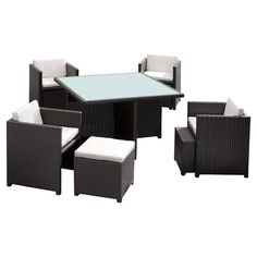 9-piece weather-resistant dining set with a square table in a woven design with a sunken glass top. Includes 4 arm chairs with nesting ottomans and UV-protec...