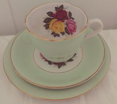 Stunning Vintage Alfred Meakin Mint Green Floral Tea Set Trio,  Bone China for One. Perfect for a Tea Party, afternoon tea