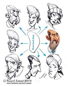 Art References — anatoref: Drawings by Youssef Zamani - Tutorials - Caricature Character Design Animation, Character Design References, Character Drawing, Character Illustration, Comic Character, Character Sketches, Doodle Drawing, Drawing Sketches, Drawing Tips