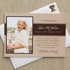 Personalized Photo Bereavement Cards - In Memory - 10786