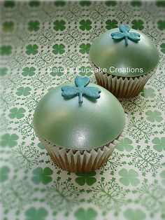 Bailey's chocolate cupcake with bailey's buttercream and fondant dome decorated with a shamrock