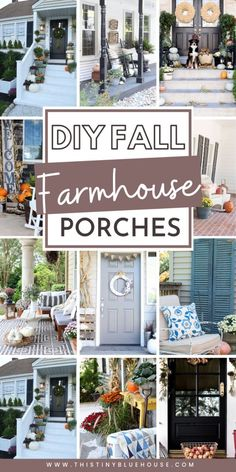 60 Ultimate Best DIY Farmhouse Fall Decor Ideas Get your front porch fall ready with these gorgeous DIY fall farmhouse porch ideas. These stunning porches are the perfect inspiration to add some farmhous flair to your outside space this fall. Modern Farmhouse Decor, Rustic Farmhouse, Target Farmhouse, Farmhouse Ideas, Farmhouse Style, Farmhouse Fall Wreath, Farmhouse Front Porches, Porch Decorating, Decorating Ideas