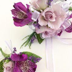 Purple Corsage and Boutonnière
