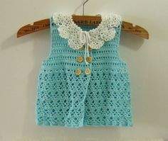 Blue Baby Dresses with Removable Collar, Crochet Newborn Baby Clothes, Spring/Summer Children Vest