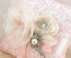Ring Bearer Pillow  Bridal Pillow in Blush Pink and by SolBijou, $125.00