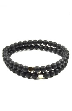 2 Pack 8mm Onyx and Chrome Bead