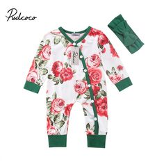 95f60831da9e Floral Romper Long Sleeve Newborn Baby Kid Girl Infant Jumpsuit Playsuit  Clothes  fashion  clothing