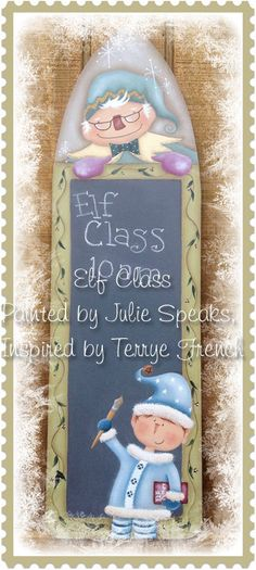 Paint up your own chalkboard to-do list! Makes a nice gift for Christmas! E Pattern Christmas Elf Class Chalkboard by OakleafHollow on Etsy, $5.00