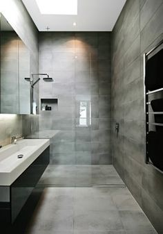 Wet room with linear drain. The drain in this room is positioned interestingly, separating the wet and dry areas. Wet Room Bathroom, Grey Bathrooms, Beautiful Bathrooms, Small Bathroom, Master Bathroom, Bathroom Ideas, Master Shower, Washroom, Linear Drain Shower