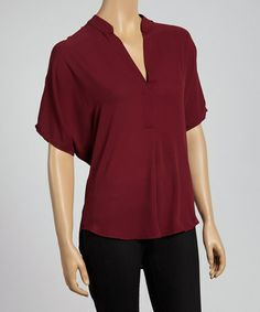 Another great find on #zulily! Burgundy Cape-Sleeve Top by Adrienne #zulilyfinds