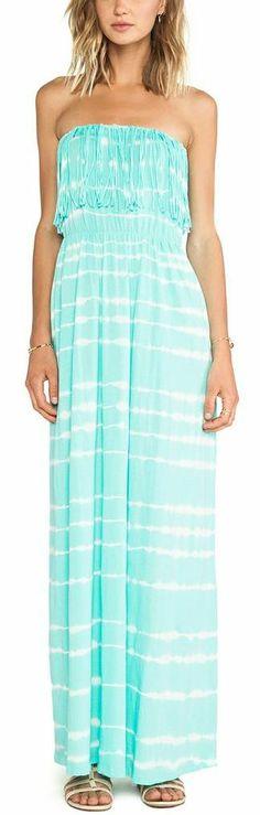 Strapless Fringe Maxi Dress in Aqua