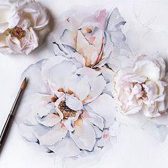 🎨 Watercoloris Floral Illustrations, Botanical Illustration, Watercolor Illustration, Watercolor Rose, Watercolor Artwork, Sketch Painting, Art Drawings, Drawing Art, Pastel