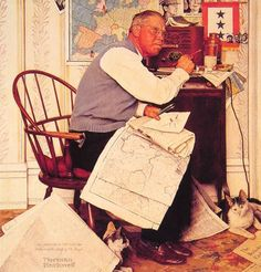 Man Charting War Maneuvers by Norman Rockwell #art