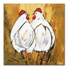 Schilderij van twee kippen geel - Modern painting of two chickens, painted on a yellow background which resembles the straw, chickens use to play in. Chicken Drawing, Chicken Painting, Chicken Art, Rooster Painting, Rooster Art, Wal Art, Chickens And Roosters, Animal Paintings, Bird Art