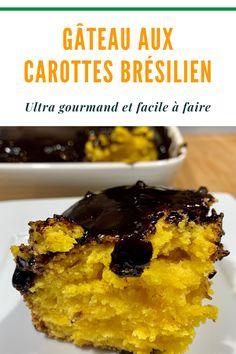 Ce gâteau aux carottes brésilien avec nappage croustillant au chocolat est une délicieuse gourmandise pour le petite déjeuner ou en tant que dessert. Super facile à faire, vous deviendrez fan de ce gâteau gourmand. Dessert, Fan, Brazilian Cuisine, Morning Breakfast, Greedy People, Deserts, Postres, Hand Fan, Desserts