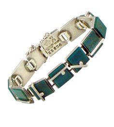 Bracelet | Antonio Pineda.  Green bloodstone and sterling silver.  1950s.