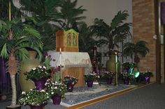 Holy Thursday side Altar.  Tabernacle is an antique hand carved Tabernacle.