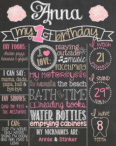 Shabby Chic First Birthday Chalkboard Poster // Pink and Gold First Birthday // Birthday Chalkboard by PersonalizedChalk, $37.00