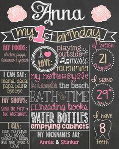Shabby Chic First Birthday Chalkboard Poster // Pink and Gold First Birthday // Birthday Chalkboard by PersonalizedChalk, $37.00