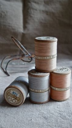 Antique spools cotton threads French collection of four gorgeous wooden bobbins.