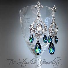 Peacock Blue Wedding Jewelry Bridal Chandelier Earrings by TZTUDIO, $70.00