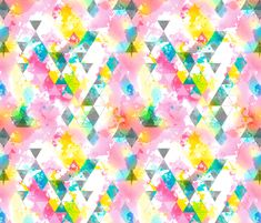 Rainbow Multi Color Triangles Watercolor fabric by caja_design on Spoonflower - custom fabric