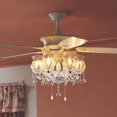 Levantara AirIonizing Fan DLier In Polished Chrome Pretty - Ceiling fan with light for bedroom