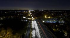 """From the Instagram of yanairllc: """"Maryland Route 29 at night.  #drone #photography #night #pretty #yanairllc #maryland #photographer #car #picofday #fleek"""""""