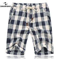 Summer of the new men's fashion beach shorts beaded jewelry designer cotton plaid shorts big size M - 5 xl