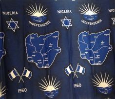 C.1960 English made Nigerian independence fabric. Blue color recalls the blue field of the colonial flag, with the Ibo inspired star, which was the symbol of the British West African colonies. Must have been after September 1959, a features the bicolor Nigerian standard, unveiled then.