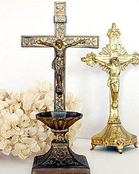 Antique Holy Water Religious Brass Crucifix Font-vintage,Jesus,Catholic,cross,church, sacrament,floral,religious,patina,shabby,