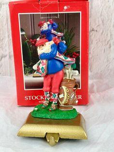 9f5e753e7 Vintage Potpourri Design Santa's Team Golf Metal Christmas Stocking Hanger    eBay